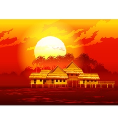village at sunset vector image
