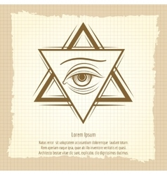Vintage double triangle and eye sign vector