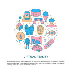 virtual reality concept poster in colored line vector image