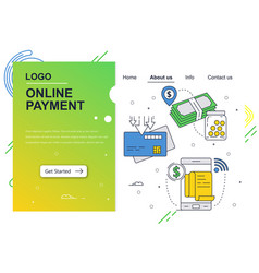 Web site linear art design template online vector