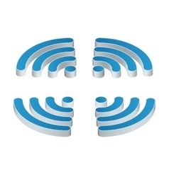Wi-fi isometric icon set four wifi icons vector