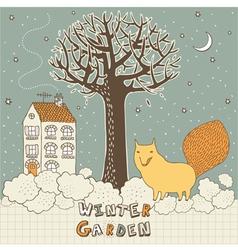 Winter Garden Fox Card vector