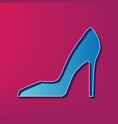 Woman shoe sign blue 3d printed icon on vector