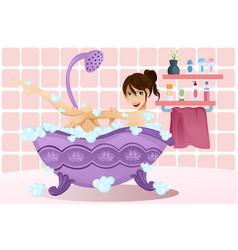 woman taking a bubble bath vector image