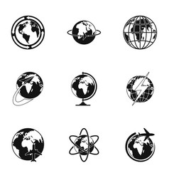 Worldwide icons set simple style vector