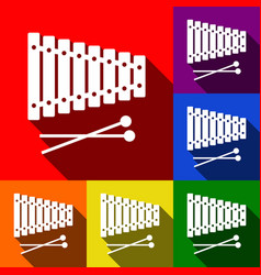 xylophone sign set of icons with flat vector image