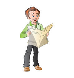 Young man reading a newspaper vector