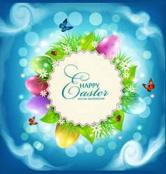 easter with a round card for text eggs grass vector image vector image