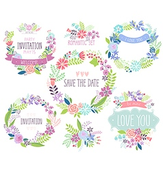 Floral hand drawn card set vector image vector image