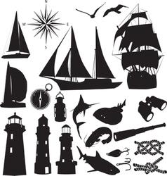 marine silhouettes vector image