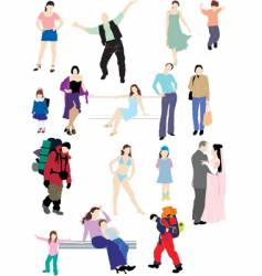 people silhouettes vector image vector image