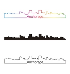 Anchorage skyline linear style with rainbow vector image vector image