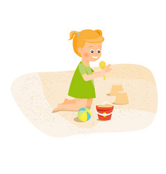 girl playing with sand vector image vector image