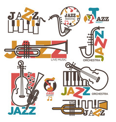 jazz night or live music festival concert logo vector image
