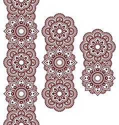 Mehndi Indian Henna brown tattoo long pattern vector image vector image
