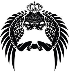 One Color Crown Skull Wings vector image