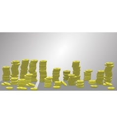 Stacks of coins a lot number vector image vector image