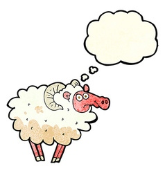 cartoon dirty sheep with thought bubble vector image vector image