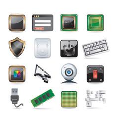 computer parts set vector image vector image