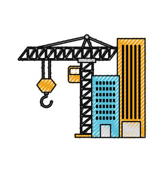 construction building tower crane equipment vector image