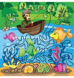 Fisherman Maze Game vector image vector image