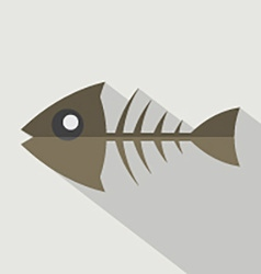 Modern flat design fishbone icon vector