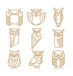 Owl line logos emblems and labels set vector image vector image
