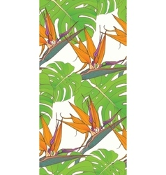 Seamless background with palm leaves and tropical vector image