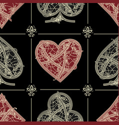 seamless patterns card suite vector image