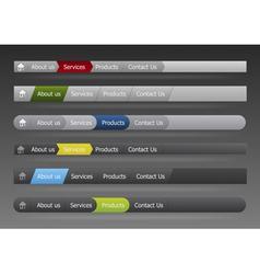 vector menu in black and gray color vector image