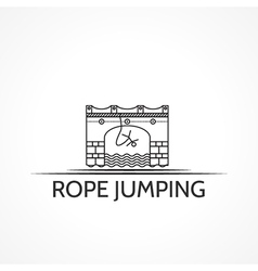 with black line icon and text for rope jumping vector image vector image