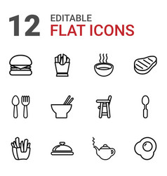 12 lunch icons vector image