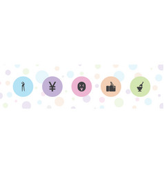 5 hand icons vector