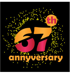 67 year anniversary template design vector image