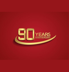 90 years anniversary logo style with swoosh vector