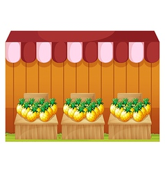 A fruitstand selling pineapples with empty vector
