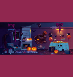 abandoned room with halloween party decoration vector image