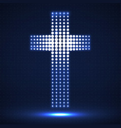 Abstract neon halftone cross christian symbol vector
