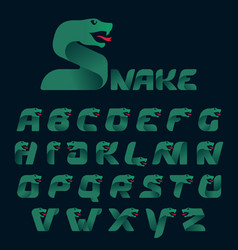 Alphabet with snake head silhouette vector