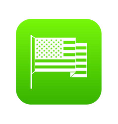 american flag icon digital green vector image