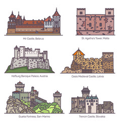 Architecture castle fort buildings in thin line vector