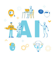 Artificial intelligence concept robots help human vector