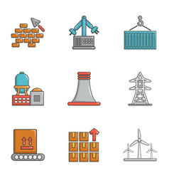 atomic industry icons set cartoon style vector image