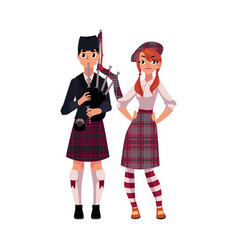 bagpiper piper and scottish girl in national vector image