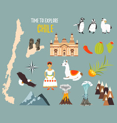 Big set with landmarks animals symbols of chile vector