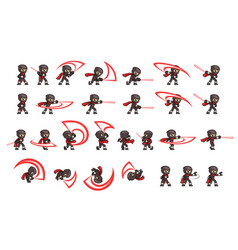 black ninja attack game sprites vector image