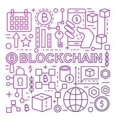 Blockchain technology banner template made with vector