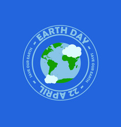 blue circle typography earth day at the middle vector image