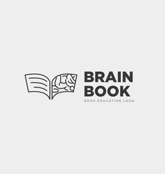 book brain education line logo template icon vector image
