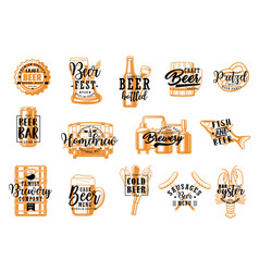 brewery pub beer drinks and snacks icons vector image